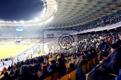 Naklejka Kibice oglądający mecz piłki nożnej na stadionie