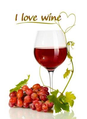 Naklejka Kieliszek wina i dojrzałych winogron z I love tekst wina izolowane