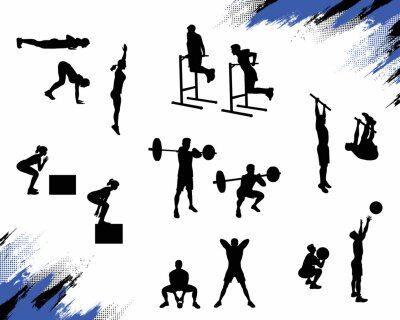 Naklejka Kilka męskich sylwetek robi różne ćwiczenia crossfit i pracy na białym tle. Ilustracja wektorowa dla sieci i drukowania.