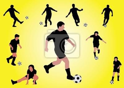 kilku piłkarzy strzelanie piłki