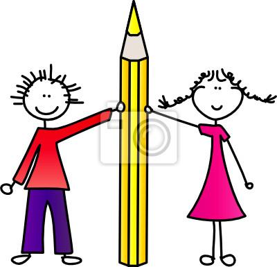 Kinder mit Bleistift