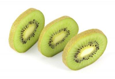 Naklejka Kiwi fruit sliced segments isolated on white background