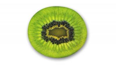 Naklejka Kiwi plaster, owoców tropikalnych przeciąć na pół na białym tle