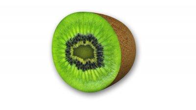 Naklejka Kiwi w plasterkach, owoc pokrojony w połowie na białym tle