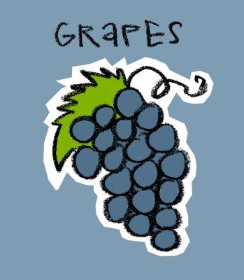 Naklejka Klaster winogron na niebieskim tle