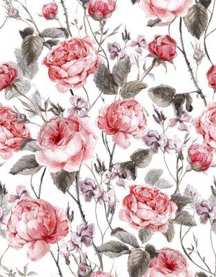 Naklejka Klasyczna rocznika kwiatowy szwu, akwarela bukiet