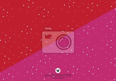 Klasyczny czerwony i różowy ładny two tone tapety z białymi kropkami