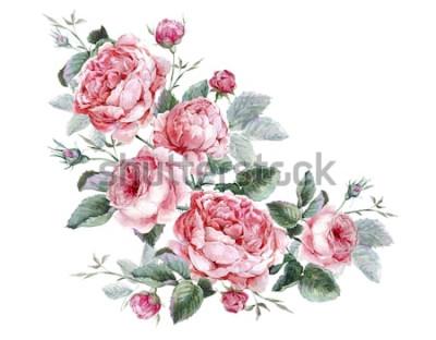 Naklejka Klasyczny wzór kwiatowy kartkę z życzeniami, akwarela bukiet angielskich róż, piękna akwarela ilustracja