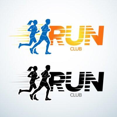 Naklejka Klub prowadzony szablon logo. Sport szablonu logotyp, klub sportowy, bieganie i fitness klub szablon wektora projektowania logo. Mężczyzna i kobieta ćwiczeń.