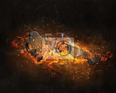 Klucz znak w płomieniach ognia