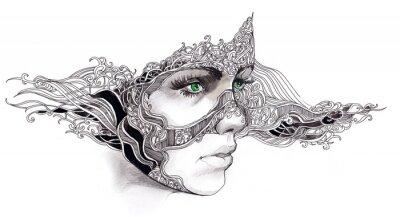 Naklejka Kobieta abstrakcyjna twarzy