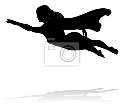 Kobieta caped superbohatera latającego w sylwetce