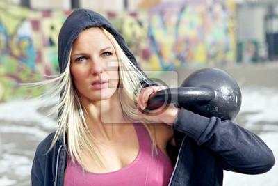 Kobieta fitness Portret z wagą