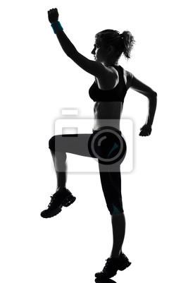 Naklejka kobieta fitness postawy treningu
