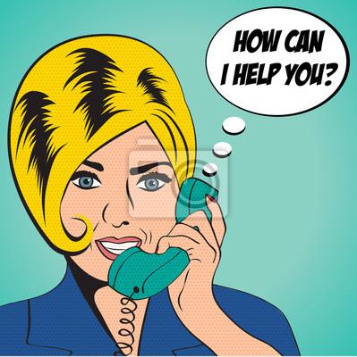Naklejka kobieta na czacie na telefon, pop sztuki ilustracji