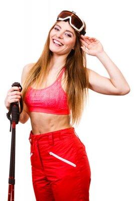 Naklejka Kobieta narciarz gogli z kijami. Sporty zimowe