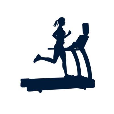 Naklejka kobieta robi ćwiczenia na bieżni, na białym tle,