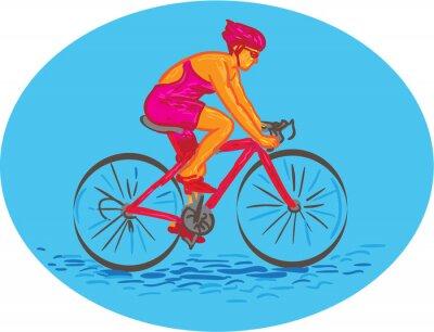 Naklejka Kobieta rowerzysta jazda na rowerze Drawing