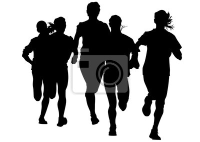 Naklejka Kobieta sportowców na prowadzeniu wyścigu na białym tle