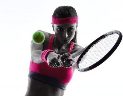 Naklejka Kobieta sylwetka portret tenisista