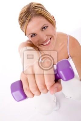 kobieta w treningu fitness z ciężarkami