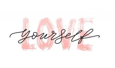 Naklejka Kochaj siebie, cytuj. Pojedyncze słowo. Nowożytna kaligrafia teksta druku Wektorowa ilustracja czarny i biały. ego