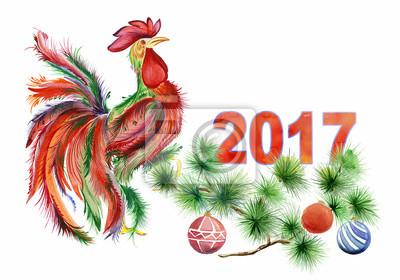 Kogut siedzi na gałęzi drzewa sosnowego zdobione i oznaczeniem 2017 na białym tle. akwarela, ręcznie. Kogut jako symbol roku. Może być stosowany do kart okolicznościowych i kalendarzy.