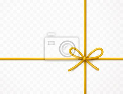 Kokardka na białym tle na przezroczystym tle. Wektor Boże Narodzenie złota koronka, sznur, lina lub sznurek z kokardą. Szablon elementu złoty zawiń xmas.