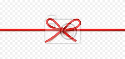Kokardka na białym tle na przezroczystym tle. Wektor sznur, lina lub sznurek. Szablon świąteczny czerwony opakowanie.