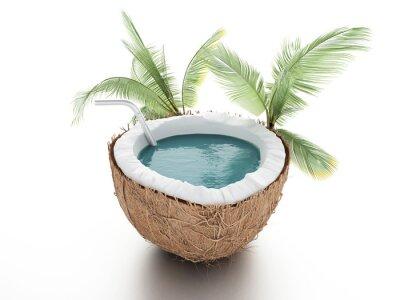 Naklejka kokosowy raj. koncepcja lato na białym tle