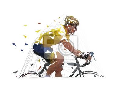 Kolarstwo, niska wielokątna rowerzysta drogowy w żółtej koszulce, widok z boku. geometryczna ilustracja na białym tle wektor
