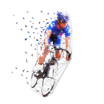 Kolarstwo szosowe, rowerzysta w blue jersey, ilustracji wektorowych wielokątne. Jeździec rowerowy Low Poly