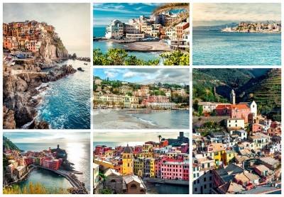 Naklejka Kolaż z najbardziej znanych zabytków w Włoszech. Riwiera Włoska Genua, Manarola, Vernazza, Bogliasco, Santa Margherita.