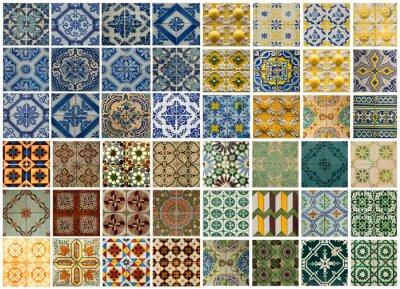 Naklejka Kolaż z różnych kolorowych płytek wzór w Portugalii