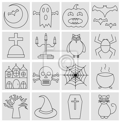 Kolekcja 16 linii ikon halloween. Księżyc, Duch, dynia, ba