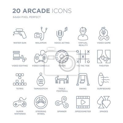 Kolekcja 20 arkadowych ikon liniowych, takich jak pistolet na wodę, walkman, pokrętło, kierownica, super nintendo, ikony linii gier wideo z pociągnięciem cienkiej linii, ilustracji wektorowych modny z