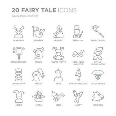 Kolekcja 20 bajkowych ikon liniowych, takich jak Minotaur, Merman, bohater, Hydra, Joker, Magiczna różdżka, potwór Loch ness, ikony linii króla z pociągnięciem cienkiej linii, ilustracji wektorowych m
