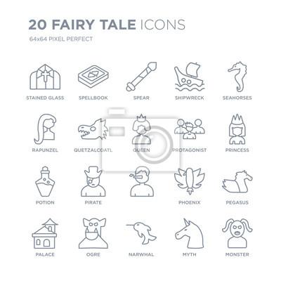 Kolekcja 20 bajkowych ikon liniowych, takich jak witraż, księga zaklęć, Narwhal, ogr, pałac, koniki morskie, protagonista, ikony linii z pociągnięciem cienkiej linii, ilustracji wektorowych modny zest