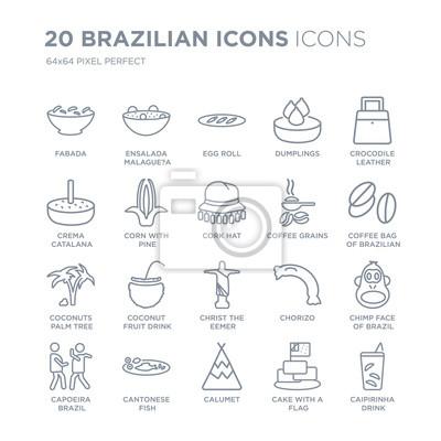 Kolekcja 20 brazylijskich ikon liniowych, takich jak Fabada, Ensalada Malague? A, Calumet, kantońska linia ryb ikony z cienką kreską, ilustracji wektorowych modny zestaw ikon.