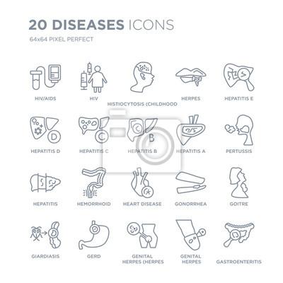 Kolekcja 20 chorób liniowych ikon, takich jak HIV / AIDS, HIV, opryszczka narządów płciowych (wirus opryszczki pospolitej), GERD, ikony linii Giardiasis z udarem cienkiej linii, ilustracji wektorowych