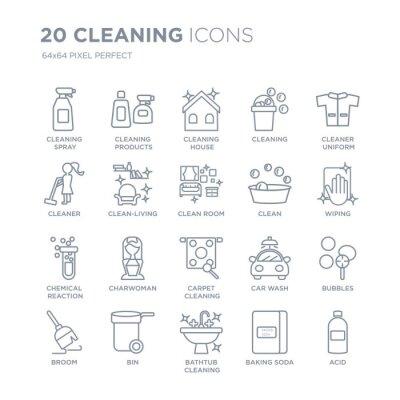 Kolekcja 20 czyszczenia liniowych ikon, takich jak spray, produkty, czyszczenie wanny, kosz, ikony linii miotły z pociągnięciem cienkiej linii, ilustracji wektorowych modny zestaw ikon.