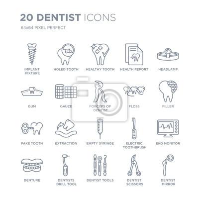 Kolekcja 20 dentystycznych ikon liniowych, takich jak implant, dziurawy ząb, narzędzia, wiertarki dentystyczne, ikony linii protezy z pociągnięciem cienkiej linii, ilustracji wektorowych modny zestaw