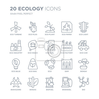 Kolekcja 20 ekologii liniowych ikon, takich jak eco Turbina, Wtyczka, Biopaliwo, Biogaz, Zagrożenie Biologiczne, Eco light, Fabryka, linia ikon z cienką kreską, ilustracji wektorowych modny zestaw iko