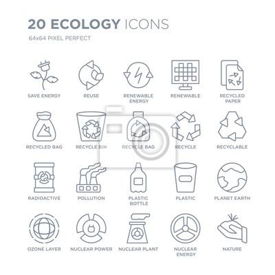 Kolekcja 20 ekologii liniowych ikon, takich jak oszczędzanie energii, ponowne użycie, elektrownia jądrowa, energia, warstwa ozonowa, papier z recyklingu ikony linii z cienką kreską, ilustracji wektoro