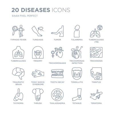 Kolekcja 20 ikon liniowych chorób, takich jak dur brzuszny, dur brzuszny, talasemia, pleśniawki, grasiczak, gruźlica (TB) linia ikon z cienką kreską, ilustracji wektorowych modny zestaw ikon.