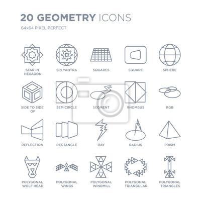 Kolekcja 20 ikon liniowych geometrii, takich jak Gwiazda w sześciokątne małe trójkąty, Sri yantra, wielokątny wiatrak, skrzydła linii ikony z cienką kreską, wektor ilustracja modny zestaw ikon.