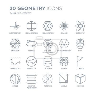 Kolekcja 20 ikon liniowych geometrii, takich jak skrzyżowanie, dwudziestościan, gwiazdka, wyrównanie środka, koło, linia ikon z pociągnięciem cienkiej linii, ilustracji wektorowych modny zestaw ikon.