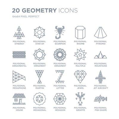 Kolekcja 20 ikon liniowych geometrii, takich jak wielokątne kształty synergii, gwiazda sześć punktów, sześciokąt, sześciokątna linia ikon z pociągnięciem cienkiej linii, ilustracji wektorowych modny z
