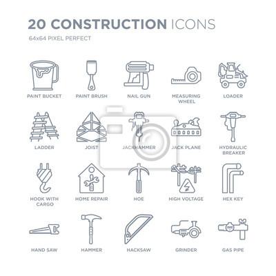 Kolekcja 20 ikon liniowych konstrukcji, takich jak wiadro z farbą, pędzel, piła do metalu, młotek, piła ręczna, ładowarka, ikony linii samolotu z pociągnięciem cienkiej linii, ilustracji wektorowych m