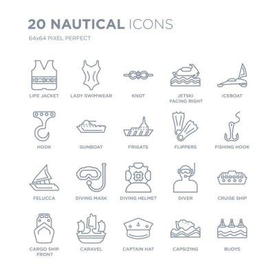 Kolekcja 20 ikon liniowych morskich, takich jak kamizelka ratunkowa, stroje kąpielowe damskie, kapelusz kapitana, karawela, widok z przodu linii ładunków z cienką kreską, ilustracji wektorowych modny